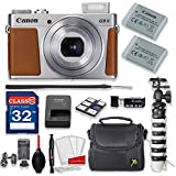 Canon PowerShot G9 X Mark II 20.1MP 3x Optical Zoom Digital Camera Kit (Silver) + 32GB High Speed Memory Card + Extra Battery + Professional Accessory Bundle