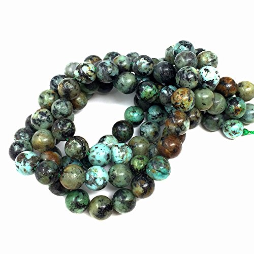 Chengmu 8mm African Turquoise Beads Natural Gem Round Loose Beads for Jewelry Making for Bracelet Necklace
