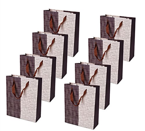 TtoyouU 8pcs Large Kraft Paper Gift Bags Irregular Geometrical Line Pattern Birthday Wedding Party Favors Bags Christmas Gift Bag(Coffee White)