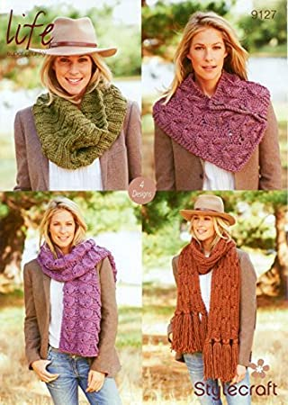 Amazon Stylecraft 9127 Knitting Pattern Ladies Cowl Scarf And