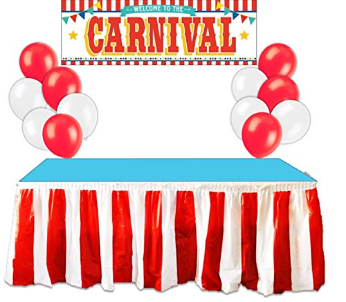 Carnival Circus Party Supplies Decorations - Red and White Striped Table Skirt, Plastic Carnival Banner with 10 Red Balloons and 10 White -