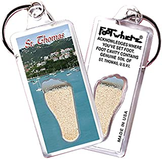 "product image for St. Thomas, V.I. ""FootWhere"" Keychain (StT101 - Harbor). Authentic Destination Souvenir acknowledging Where You've Set Foot. Genuine Soil of Featured Location encased Inside Foot Cavity. Made in USA."