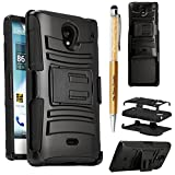 sharp aquos crystal case be free - The3Knights[TM] For Sharp Aquos Crystal Rugged Armor Case Stand w/ Holster & Swivel Belt Clip Combination + The3Knights[TM] Universal 2 in 1 Crystal Classic Stylus Pen (HOLSTER BLACK)