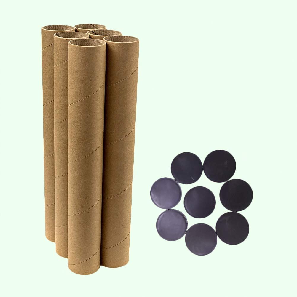 6 Paper Tubes and 12 Caps SUPVOX 18pcs Quality Cardboard Postal Tube Kraft Paper Mailing Tubes Postal Tubes with Caps
