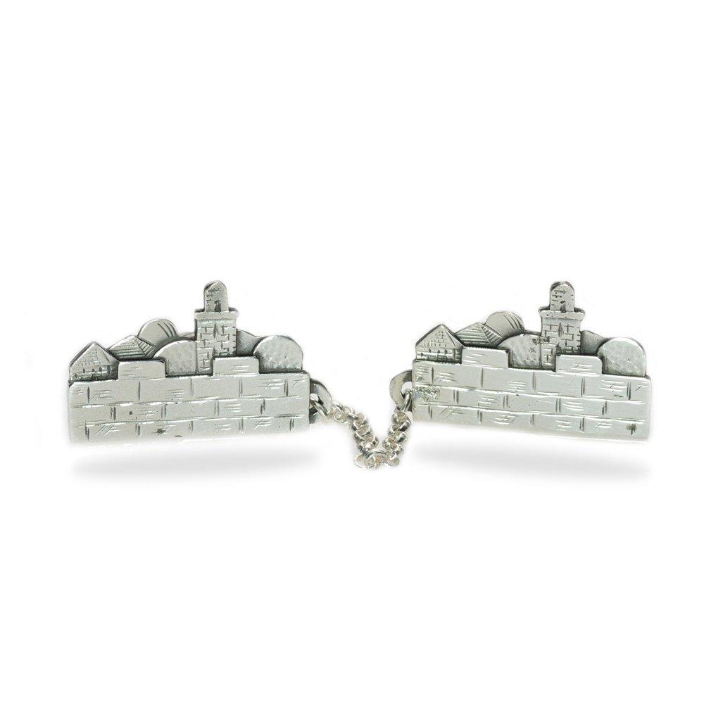 Baltinester 3D Jerusalem Tallit Clips Sterling Silver