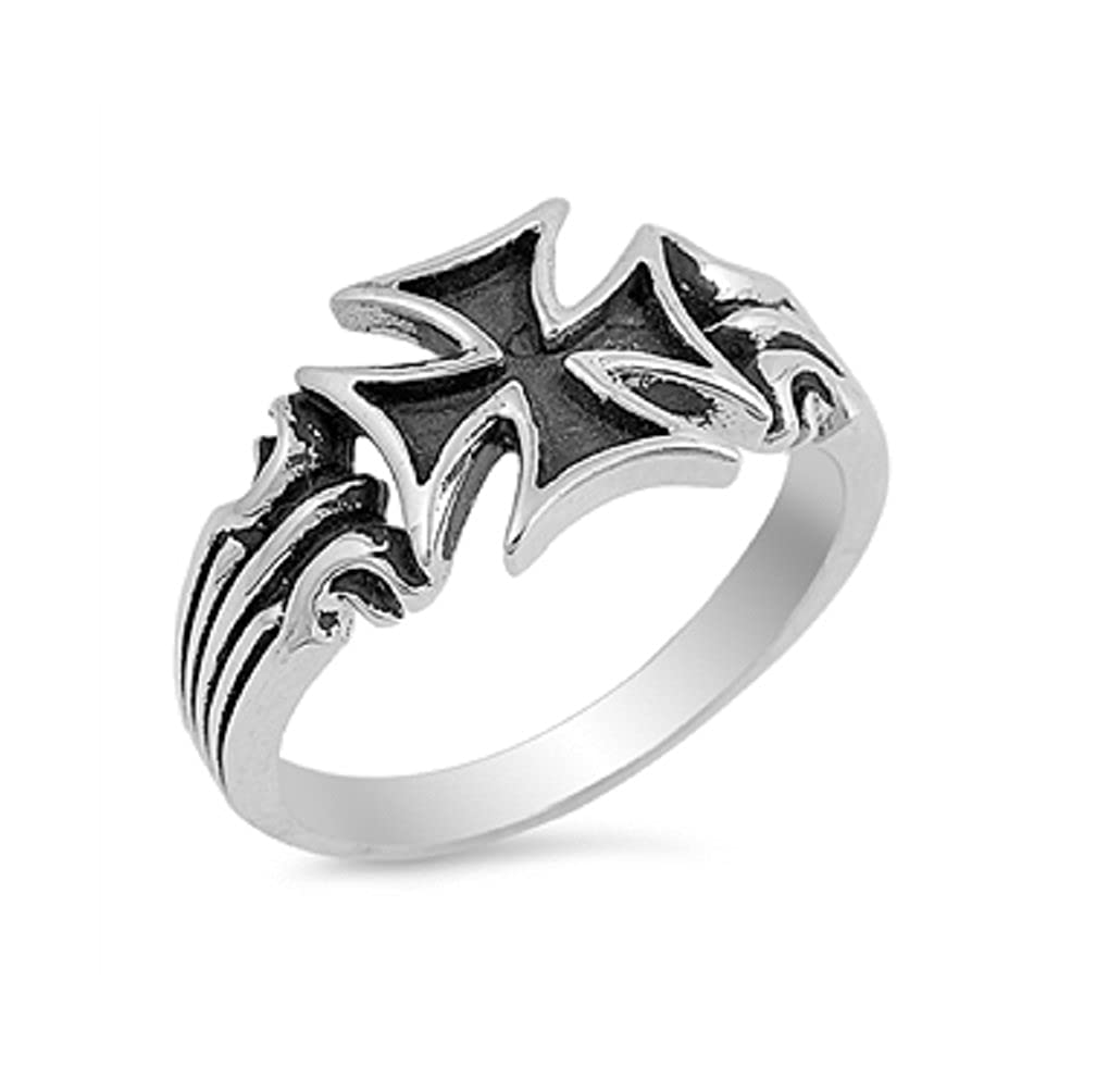 CloseoutWarehouse Sterling Silver Iron Cross Ring