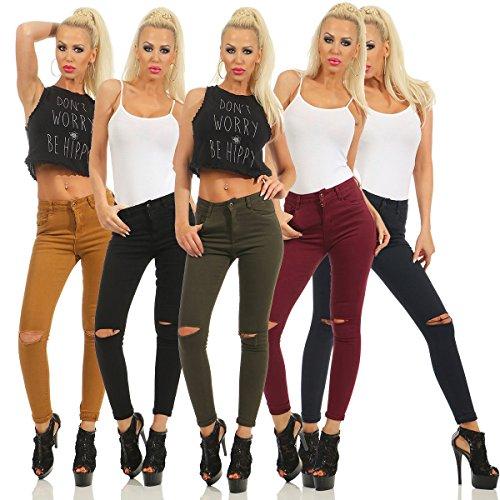 40 Fashion4Young Gris M Turquoise Femme Fonc turquoise Jeans rXqwXz6