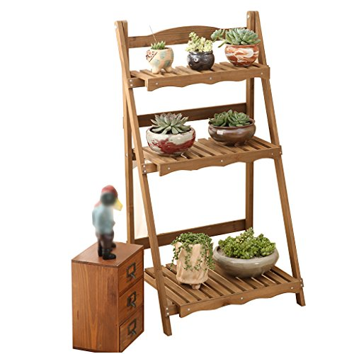 CSQ Retro Flower Stand, Solid Wood Three Layers Multifunctional Rack Succulent Plants Potted Plants Decoration Bedroom Living Room Entrance Balcony 5034.592CM Flower Shelf by Flowers and friends