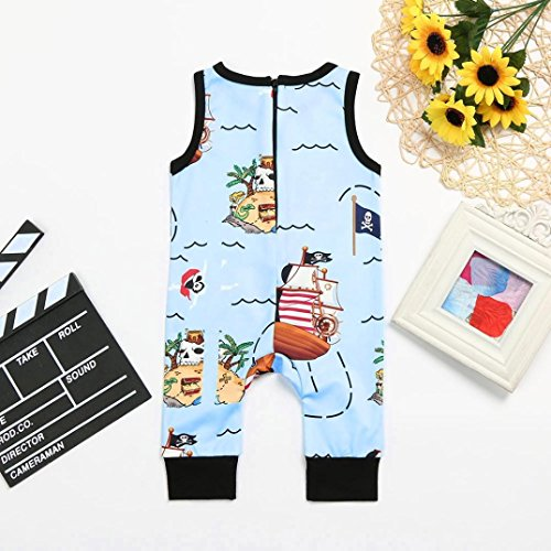 G-real Toddler Baby Boys Cute Cartoon Pirate Romper Jumpsuit Zip Sleeveless Bodysuit