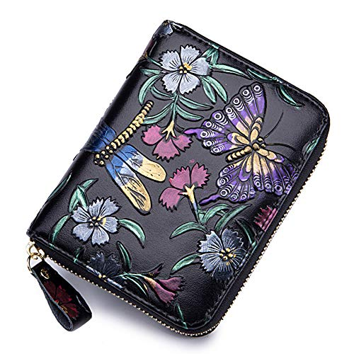 Wallet Accordion Purse (Women RFID Blocking Leather Credit Card Holder case Accordion Wallet 24 Slots Purses with Zipper Pocket Hand-painted color (Butterfly and Dragonfly))