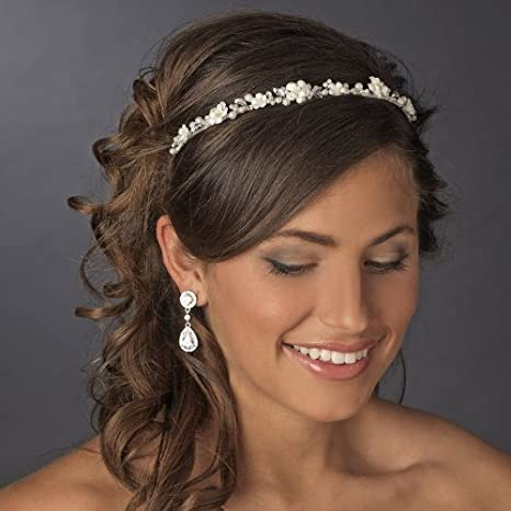 2f55e5bf1076f Alessia Ivory Porcelain Pearl Flower Bridal Headband Tiara