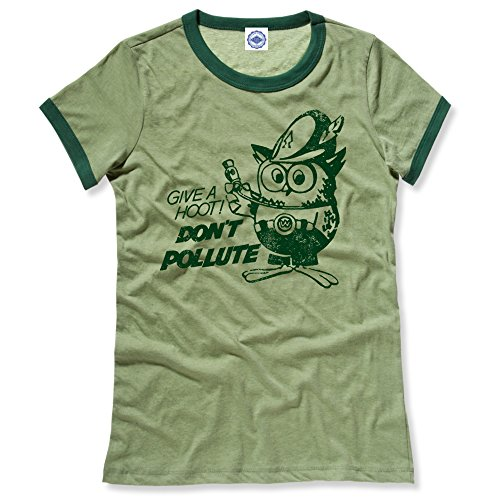 Hank Player U.S.A. Official Woodsy Owl Women's Ringer T-Shirt (M, Heather Green) ()