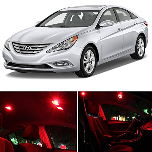 Red Hyundai Sonata (Hyundai Sonata w/SUNROOF 2011 & up Red Premium LED Interior Lights Package kit (9 Pieces))