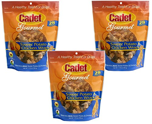 (3 Pack) Cadet Chicken & Sweet Potato Dog Treat Wraps; 28 oz Each