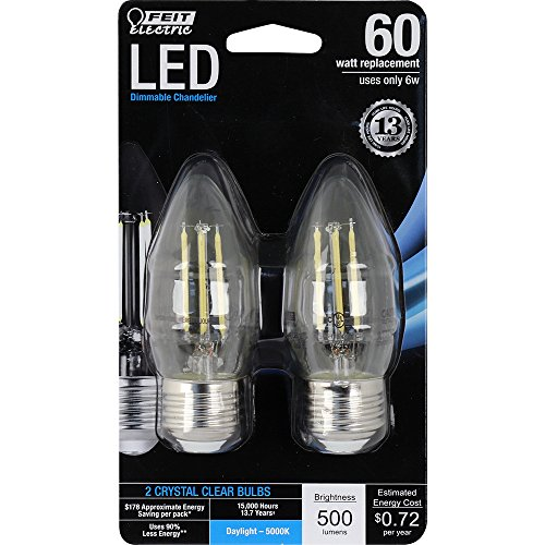 (Feit Electric BPETC60/850/LED/2 Chandelier Bulb, Standard Base Clear Torpedo Tip, 60 Watt Equivalent Daylight, 2 Pack)
