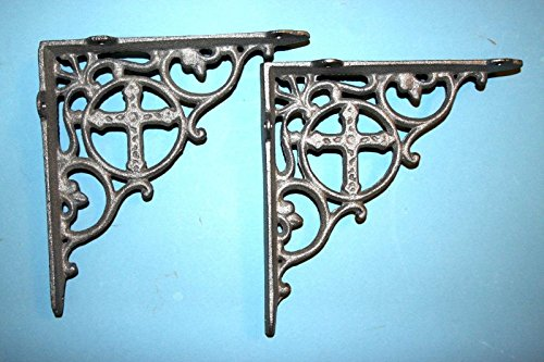 Set of 2 Spanish Mission Shelf Brackets Cast Iron 7 1/2 inches Christian Cross, Unfinished Metal May have visible rust, B-26 by Southern Metal