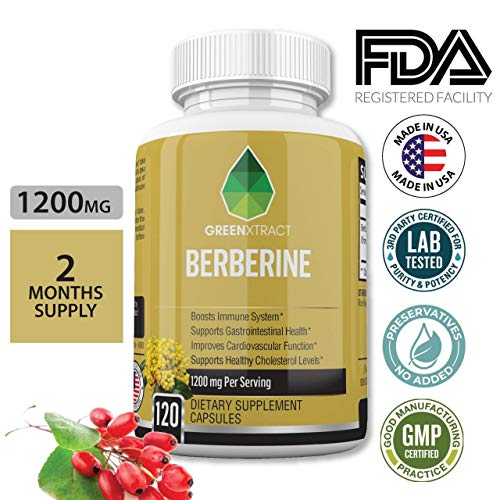 Berberine HCL From Berberis Aristata, Maximum Strength 1200 MG, 60 Days Supply, Blood Sugar Metabolism, Immune Function, Cardiovascular & Gastrointestinal Health Supplement, Vegan, for Men & Women