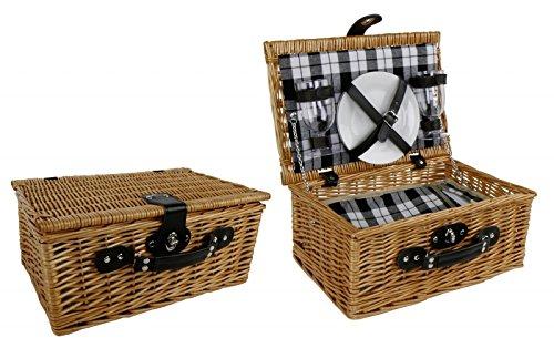 Klassischer Picknick Korb inkl Geschirr - Picknickkorb Weide braun f/ür 2 Personen