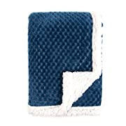 Tadpoles Popcorn Plush and Sherpa Ultra-Soft Baby Blanket, Dark Blue