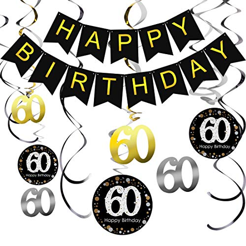 60th Birthday Decoration Kit Happy Birthday Banner, Sparkling Celebration 60 Hanging Swirls, perfect gift for 60 Years Old Party Supplies 60th Anniversary Decorations