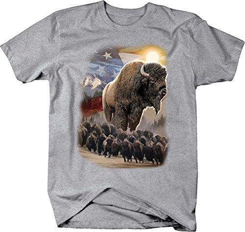 American Bison Range - American Bison Herd Majestic Mountain Range T shirt - Xlarge