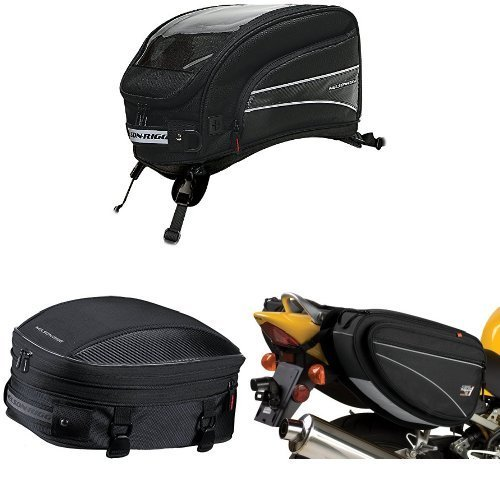 Nelson-Rigg CL-2016-ST Black X-Large Strap Mount Journey Tank Bag, CL-1060-S Black Sport Tail/Seat Pack, and CL-950 Black Deluxe Sport Touring Saddle Bag Bundle