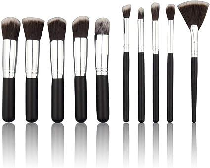 set de brochas para maquillaje 10 palos negro plata 5 grandes 5 pequeños con sombrilla: Amazon.es: Belleza
