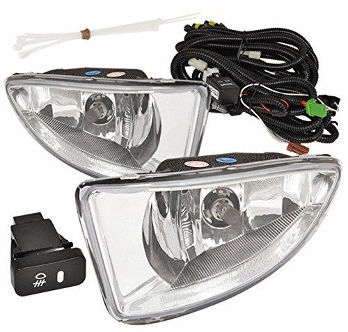 Front Bumper Jdm Fog Light Lamp Chrome Lens Kit Assembly Replacement Pair Set For Honda Civic EM2 Dx Lx Ex Coupe Sedan (2005 Honda Civic Lx Coupe)