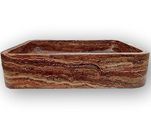 - Shades of Stone Rectangle Bathroom Vanity Sink Above Counter Vessel, Undercounter or Apron Front Farmhouse Installation Styles, 100% Stone Handcarved, Free Matching Tray. (Red Travertine)