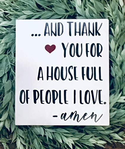 (Family wood sign, family room wall decor, and thank you for a house full of people I love,)