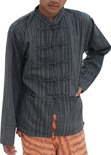 Raan Pah Muang RaanPahMuang Striped Cotton Chinese Button and Collar Long Sleeve Plus Size, XX-Large, Black (Cotton Thai Craft)