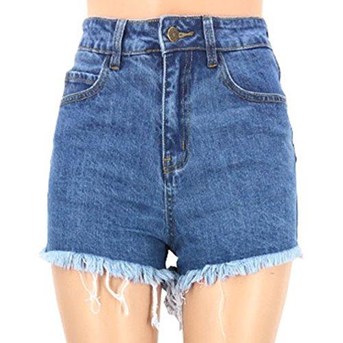 Vaqueros La Como Trasera Cremallera Imagen Corto Mezclilla Shorts Skinny De Mujeres Personalidad Con APYxqwv