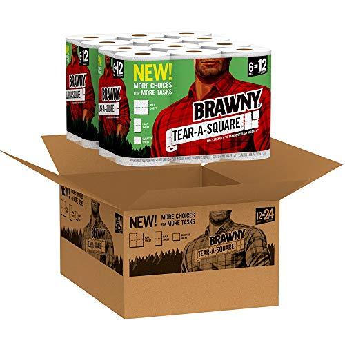Brawny Tear-A-Square Paper Towels, 12 Rolls, 12 = 24 Regular Rolls, 3 Sheet Size Options, Quarter Size Sheets by Brawny (Image #1)