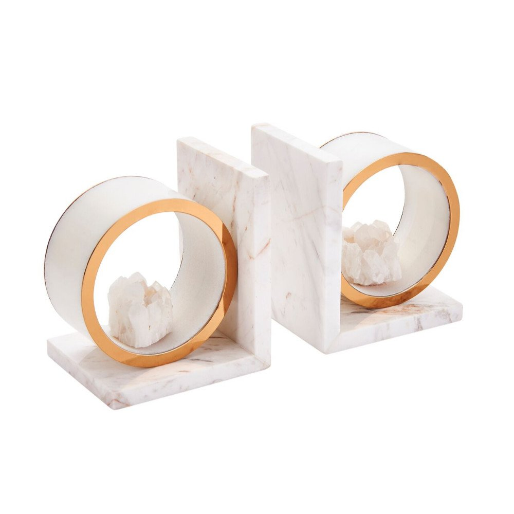 Benzara Wonderful White Marble with Agate Bookends (Set of 2),
