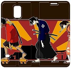 caso del tirón del cuero Samurai Champloo N3P41P6 Samsung Galaxy S5 funda de plástico E1J72U6 caso de cuero del teléfono Funda para los hombres