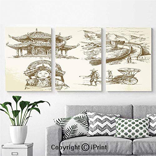 (Canvas Prints Modern Art Framed Wall Mural Chinese Heritage Symbols Pagoda Great Wall Woman Portrait Sketch for Home Decor 3 Panels,Wall Decorations for Living Room Bedroom Dining Room Bathroom Offi)