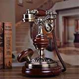 HomJo Push Button Telephone Vintage Antique Style Resin metal Corded Telephone Home Living Room Decor