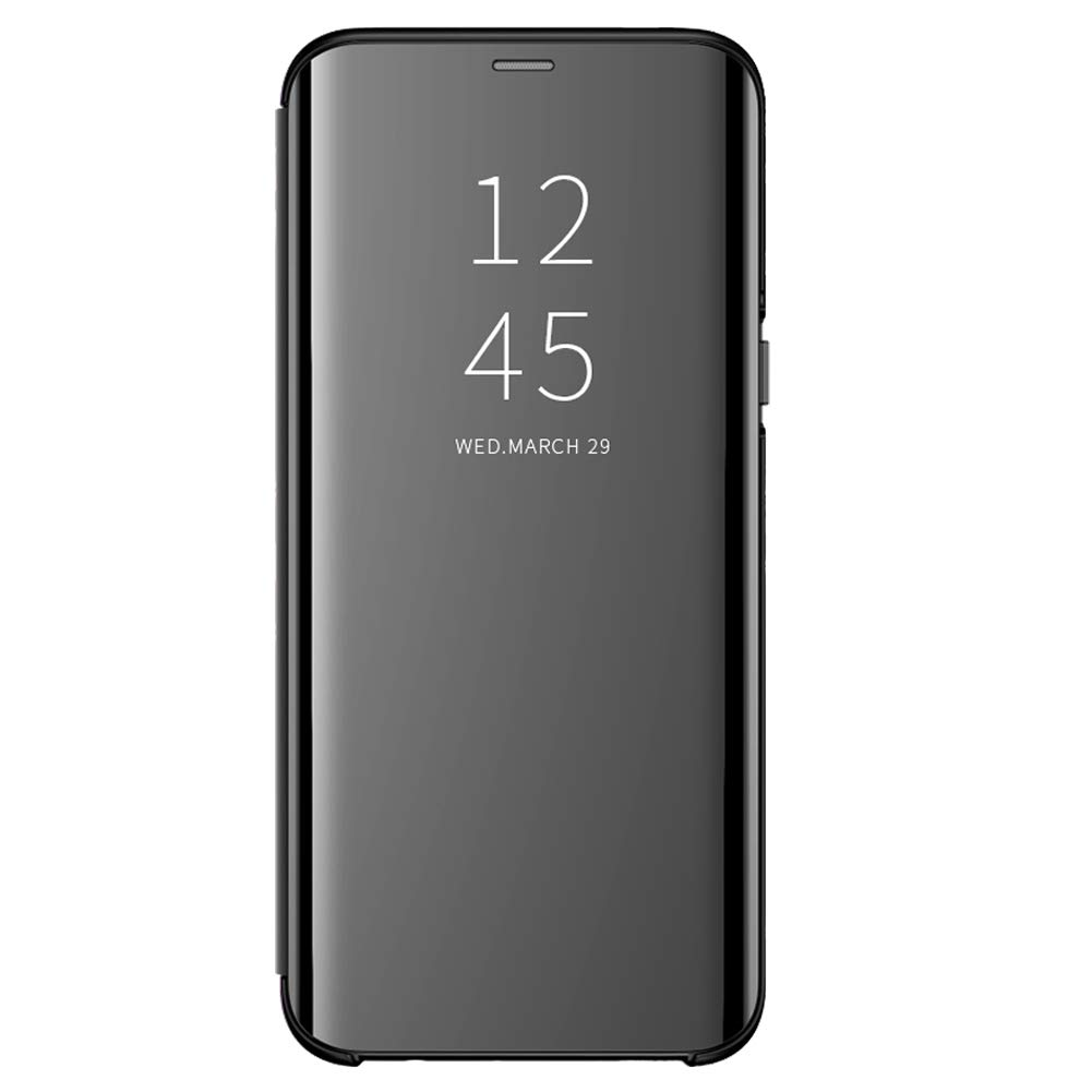 Case for Samsung Galaxy S9 Plus, Clear Mirror Ultra-Thin View Stand Flip Cover Protective Bumper case Samsung Galaxy S9 (Samsung Galaxy S9 Plus, Black)