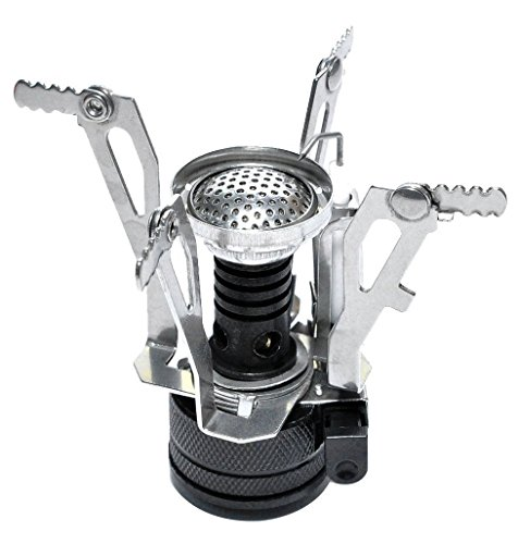 Leeko Mini Portable Collapsible Outdoor Backpacking Camping Stove with Piezo Ignition (Black)