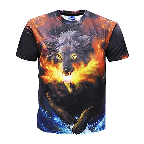 fashion t shirts Men's ice Fire Wolf Patterns Neck Short Sleeve T-Shirt Tees Clothing (US 3XL=Asia Lable 5XL)