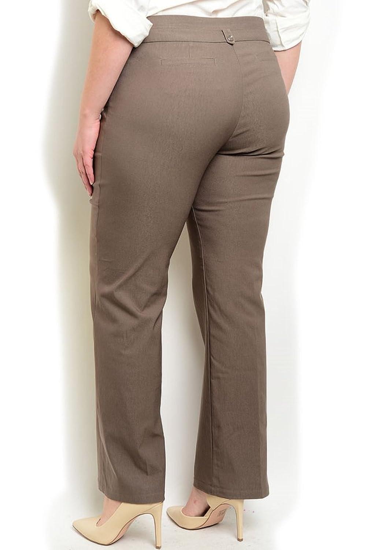 DHStyles Women's Plus Size Mid Rise Button Closure Pants