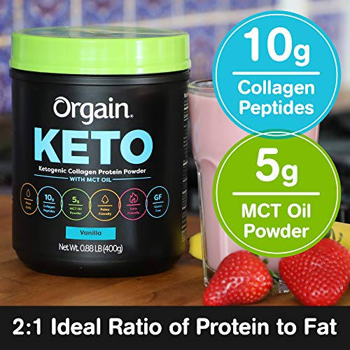 Orgain Keto Collagen Protein Powder with MCT Oil, Vanilla - Paleo Friendly, Grass Fed Hydrolyzed Collagen Peptides Type I and III, Dairy Free, Lactose Free, Gluten Free, Soy Free, 0.88 Pound 3