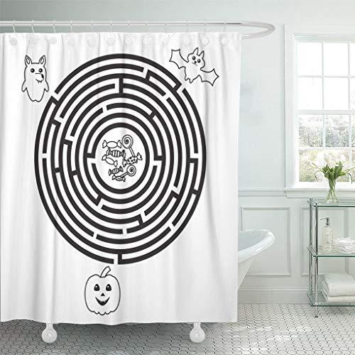 Ladble Waterproof Shower Curtain Curtains Circular Halloween Maze for Preschool School Kids Funny Labyrinth Pumpkin Wolf and Bat 72