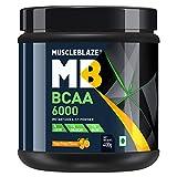 MuscleBlaze BCAA 6000 Amino Acid Powder, 0.88 lbs/400g, 50 Servings (Tangy Orange)