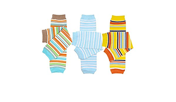 White Ribbed Ocean Stripe juDanzy 3 Pair Baby Boy And Girl Leg Warmers Sunshine Stripe
