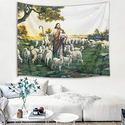 (HVEST Christian Tapestry Jesus with Sheep and Lamb in Mountain Wall Hanging Religious Tapestries for Bedroom Living Room Dorm Decor,60Wx40H)