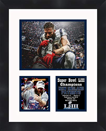 New England Patriots Super Bowl 53 Julian Edelman Framed 11 x 14 Matted Collage Framed Photos Ready to Hang