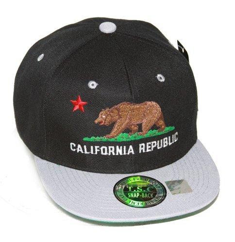 California Republic Supreme Cap Adjustable Snapback Hat, Black Gray