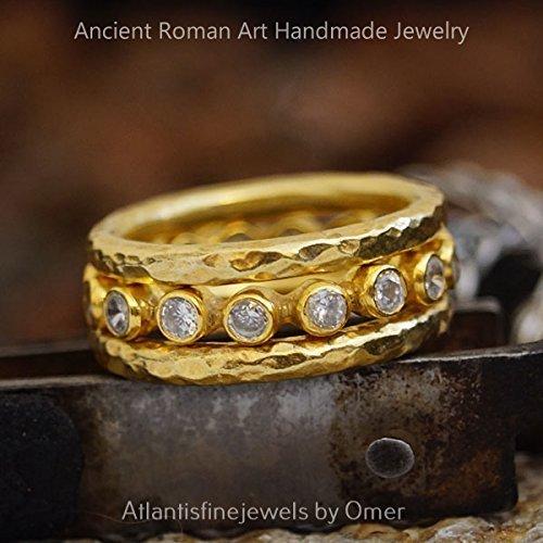 3 PCS WHİTE TOPAZ DESIGNER HANDMADE ETERNITY RING SET 24K GOLD OVER 925 SILVER BY OMER (Designer Topaz Jewelry Set)