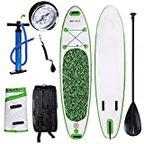 ANCHEER Inflatable Stand Up Paddle Board 10', iSUP Package w/Adjustable Paddle, Leash, Pump and Backpack (DA01-Green_0.9mm double layer PVC)